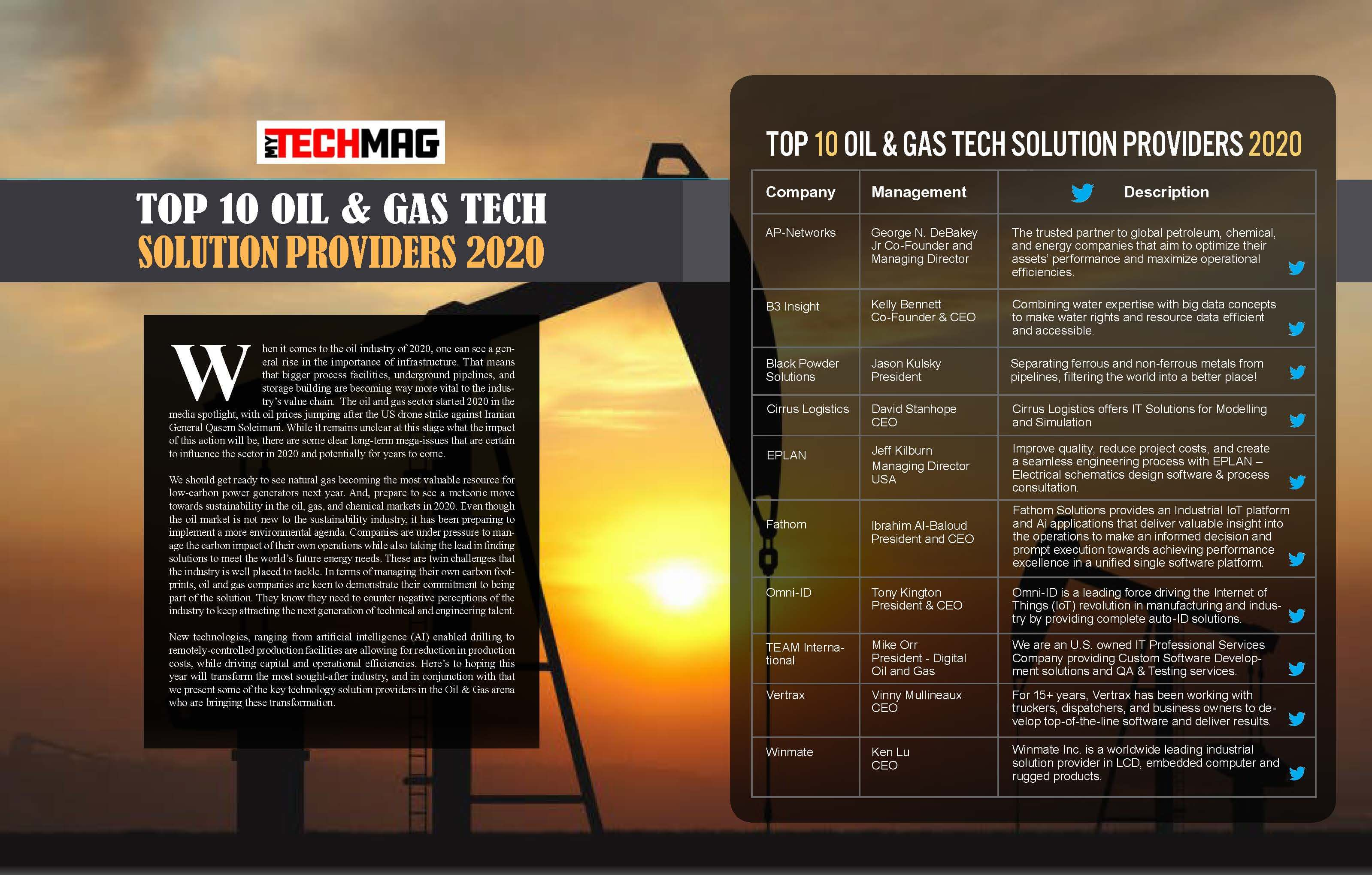 Top 10 Oil & Gas Tech Solution Providers 2020